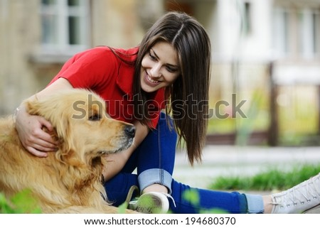 Urban stylish trendy young teenage people with dog - stock photo