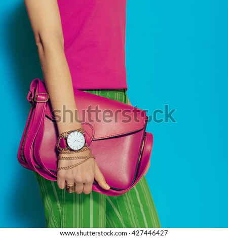 Urban Summer style. Fashion Crimson Bag Ladies and stylish Jewelry. Be bright