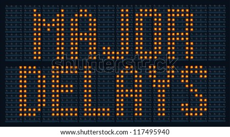 Urban traffic congestion sign saying Major Delays - stock photo