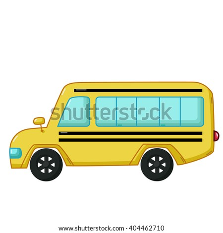 Urban transport icon in cartoon style isolated on white background. Yellow school bus