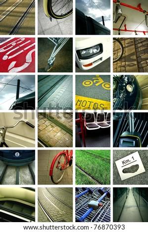 Urban transportation collage - stock photo