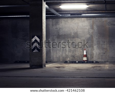 Urban underground background. Concrete wall under the lamp light in the dark - stock photo