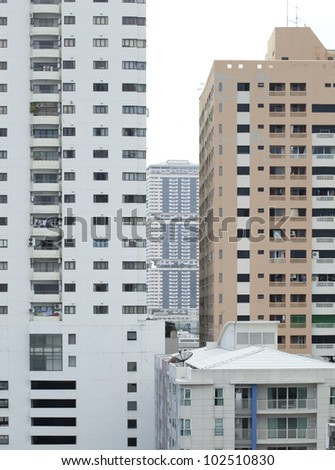 urban view at modern building windows and details - stock photo