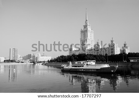 Urban view in Moscow in black and white