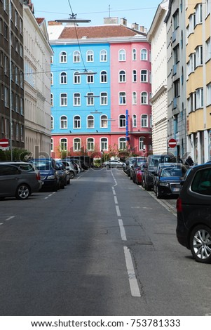 Urban view in Wien. Car are parking