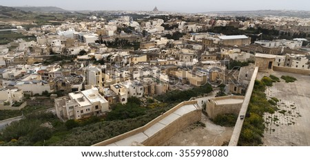 Urban view of a city in Malta, birds eye view