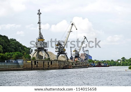 Urban view of the port in Gomel, Belarus - stock photo