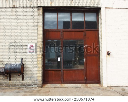 urban warehouse exterior street wall - stock photo