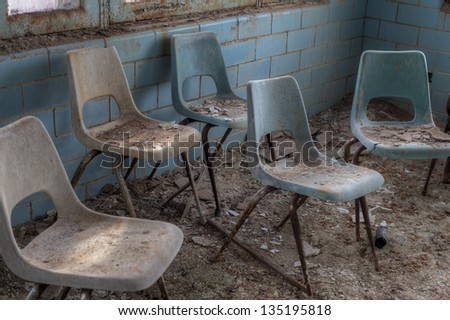 Urbex - Abandoned meeting room, in light HDR processing - stock photo