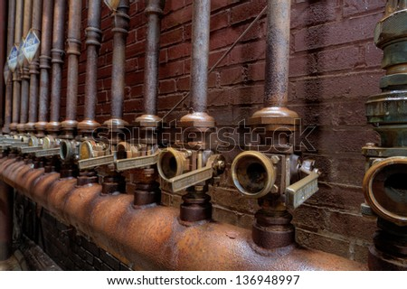 Urbex - Hydraulic valves used in a steel furnace, in HDR light processing