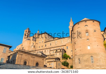 Urbino, Italy - August 13, 2015: view of skyline with Ducal Palace in Urbino, Italy. The historic center of Urbino is a Unesco World Heritage site and represents the zenith of Renaissance architecture - stock photo