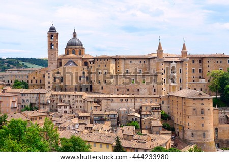 URBINO, ITALY - JUNE 11 2016: Urbino is a walled city on a sloping hillside and is notable for a historical legacy of independent Renaissance culture.