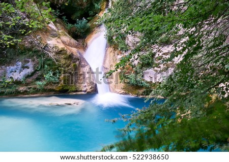 Urederra River (Navarra, Spain) takes an amazing blue color near its spring.