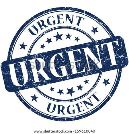 urgent grunge round blue stamp - stock photo