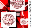 Urgent On Cubes Shows Urgent Priority Or Speed Delivery - stock photo