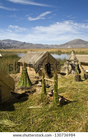 Uros floating islands in Titicaca lake - stock photo