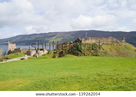 Urquhart Castle at Loch Ness Inverness Highlands, Scotland UK - stock photo