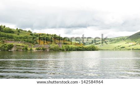 Urquhart Castle at Loch Ness, Scotland - stock photo