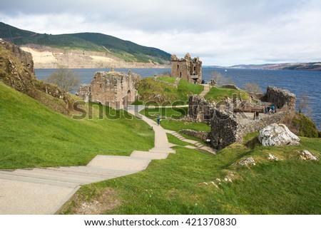 Urquhart Castle beside Loch Ness in Scotland, UK. - stock photo