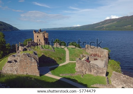 Urquhart Castle in Loch Ness Scotland - stock photo