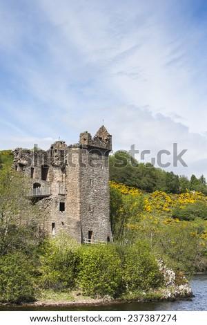 Urquhart Castle on Loch Ness in Scotland - stock photo