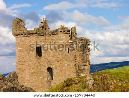 Urquhart Castle on Loch Ness shore - stock photo