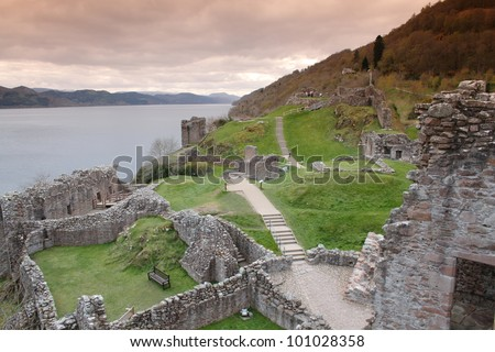 Urquhart Castle on the shores of Loch Ness, Scotland - stock photo