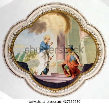 URSBERG, GERMANY - JUNE 09: Scenes from the life of St. Peter, the frescoes on the ceiling of the monastery church of St. John in Ursberg, Germany on June 09, 2015. - stock photo