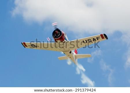 Ursel, Belgium, 27 juni 2015: airshow, mustang airplane - stock photo