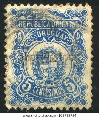 URUGUAY - CIRCA 1906: A stamp printed by Uruguay, shows Coat of Arms, circa 1906 - stock photo