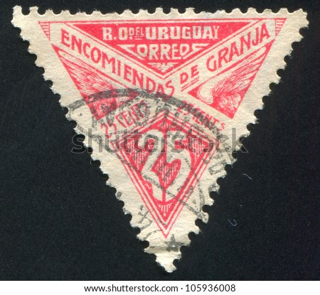 URUGUAY - CIRCA 1929: A stamp printed by Uruguay, shows Graphic Design, circa 1929 - stock photo