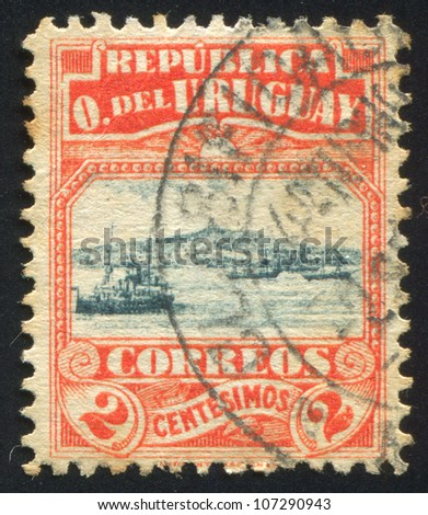 URUGUAY - CIRCA 1919: A stamp printed by Uruguay, shows Harbor of Montevideo, circa 1919
