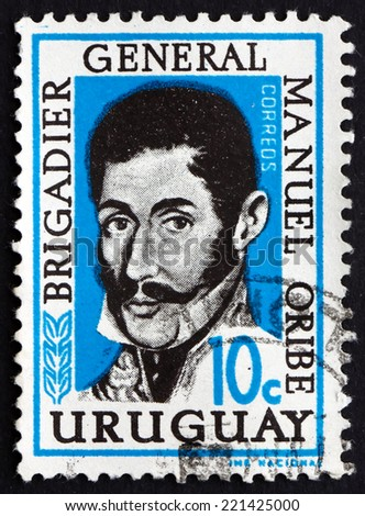 URUGUAY - CIRCA 1961: a stamp printed in the Uruguay shows General Manuel Oribe, Revolutionary Leader, the 2nd Constitutional President of Uruguay, circa 1961 - stock photo