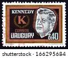 URUGUAY - CIRCA 1965: a stamp printed in the Uruguay shows John F. Kennedy, President of USA, circa 1965 - stock photo