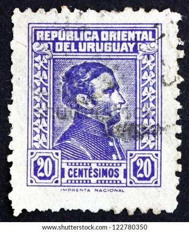 URUGUAY - CIRCA 1944: a stamp printed in the Uruguay shows Jose Gervasio Artigas Arnal National Hero of Uruguay, General and Patriot, circa 1944 - stock photo
