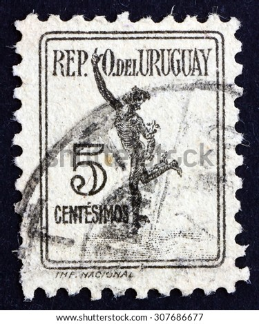 URUGUAY - CIRCA 1927: a stamp printed in the Uruguay shows Mercury, Parcel Post Stamp, circa 1927