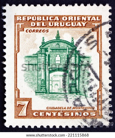 URUGUAY - CIRCA 1954: a stamp printed in the Uruguay shows Montevideo Fortress, circa 1954 - stock photo