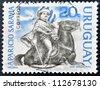 URUGUAY - CIRCA 1966: A stamp printed in Uruguay shows Aparicio Saravia  on horseback, revolutionary, circa 1966 - stock photo