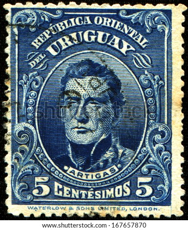 URUGUAY - CIRCA 1910: A stamp printed in Uruguay shows Jose Gervasio Artigas - national hero of Uruguay, circa 1910  - stock photo