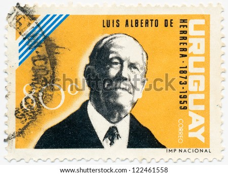 URUGUAY - CIRCA 1964: A stamp printed in Uruguay, shows portrait of Luis Alberto de Herrera (1873-1959) a Uruguayan lawyer, diplomat, journalist and politician, circa 1964 - stock photo