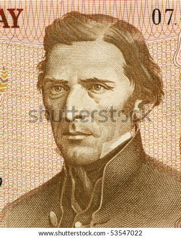 URUGUAY - CIRCA 1975: Jose Gervasio Artigas (1764-1850) on 5 Nuevos Pesos 1975  Banknote from Uruguay. National hero of Uruguay. - stock photo
