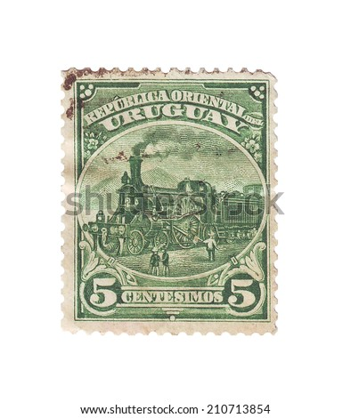 URUGUAY - CIRCA 1898: Postage stamp with the image of Uruguay the steam locomotive, circa 1898 - stock photo