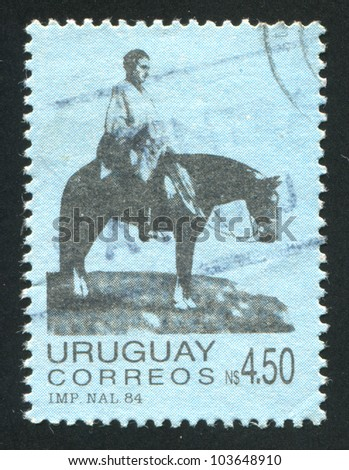 URUGUAY - CIRCA 1984: stamp printed by Uruguay, shows Artigas on the Plains, circa 1984 - stock photo