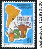 URUGUAY - CIRCA 1987: stamp printed by Uruguay, shows Beef  Exports, circa 1987 - stock photo