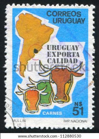 URUGUAY - CIRCA 1987: stamp printed by Uruguay, shows Beef  Exports, circa 1987 - stock photo