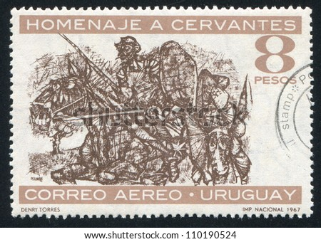 URUGUAY - CIRCA 1967: stamp printed by Uruguay, shows Don Quixote and Sancho Panza, Painted by Denry Torres, circa 1967