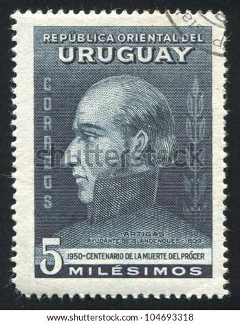 URUGUAY - CIRCA 1952: stamp printed by Uruguay, shows Jose Artigas, circa 1952 - stock photo