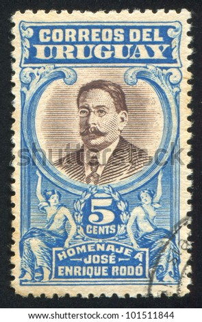 URUGUAY - CIRCA 1919: stamp printed by Uruguay, shows Jose Enrique Rodo, circa 1919