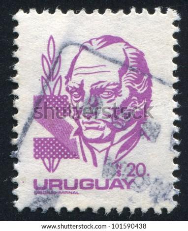URUGUAY - CIRCA 1980: stamp printed by Uruguay, shows Jose Gervasio Artigas, circa 1980 - stock photo