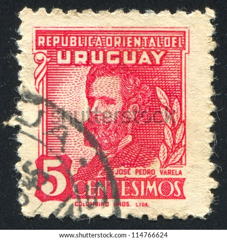 URUGUAY - CIRCA 1945: stamp printed by Uruguay, shows Jose Pedro Varela, circa 1945 - stock photo